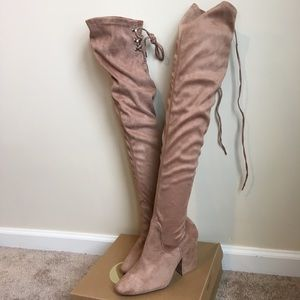 NWT Suede Taupe Over the Knee Heeled Boots